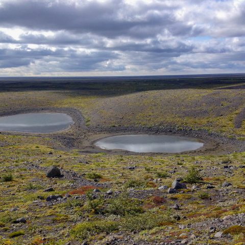 Two Craters of Water on a Hike in Southern Iceland