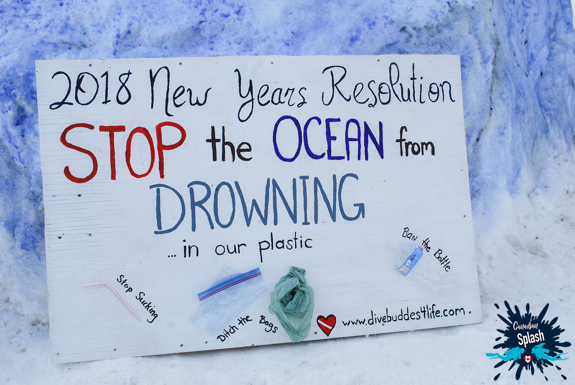 A Close Up Of The Plastic Pollution Sign Made To Raise Awareness On Pollution In Our Lakes, Rivers And Oceans, Canada Underwater