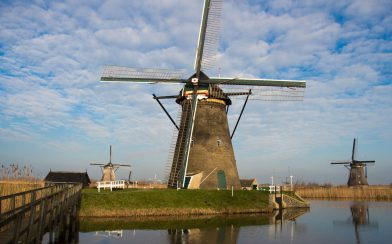 A Netherlands Windmill And Blue Sky