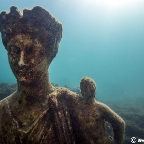 A Queen And Her Sidekick Roman Art In The Submerged City Of Baiae In Naples, Italy, Europe