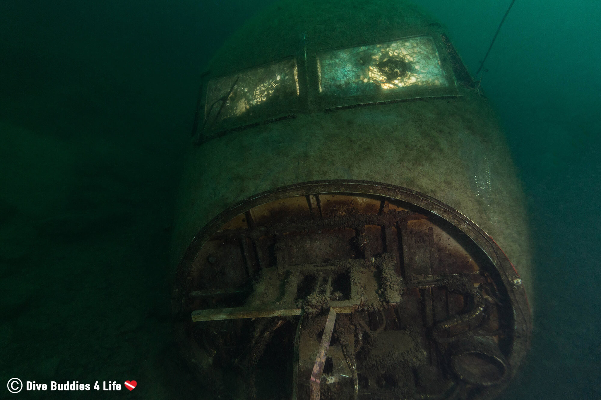 A Sunken Airplane At The Bottom Of The Vobster Inland Diving Quay, England, UK