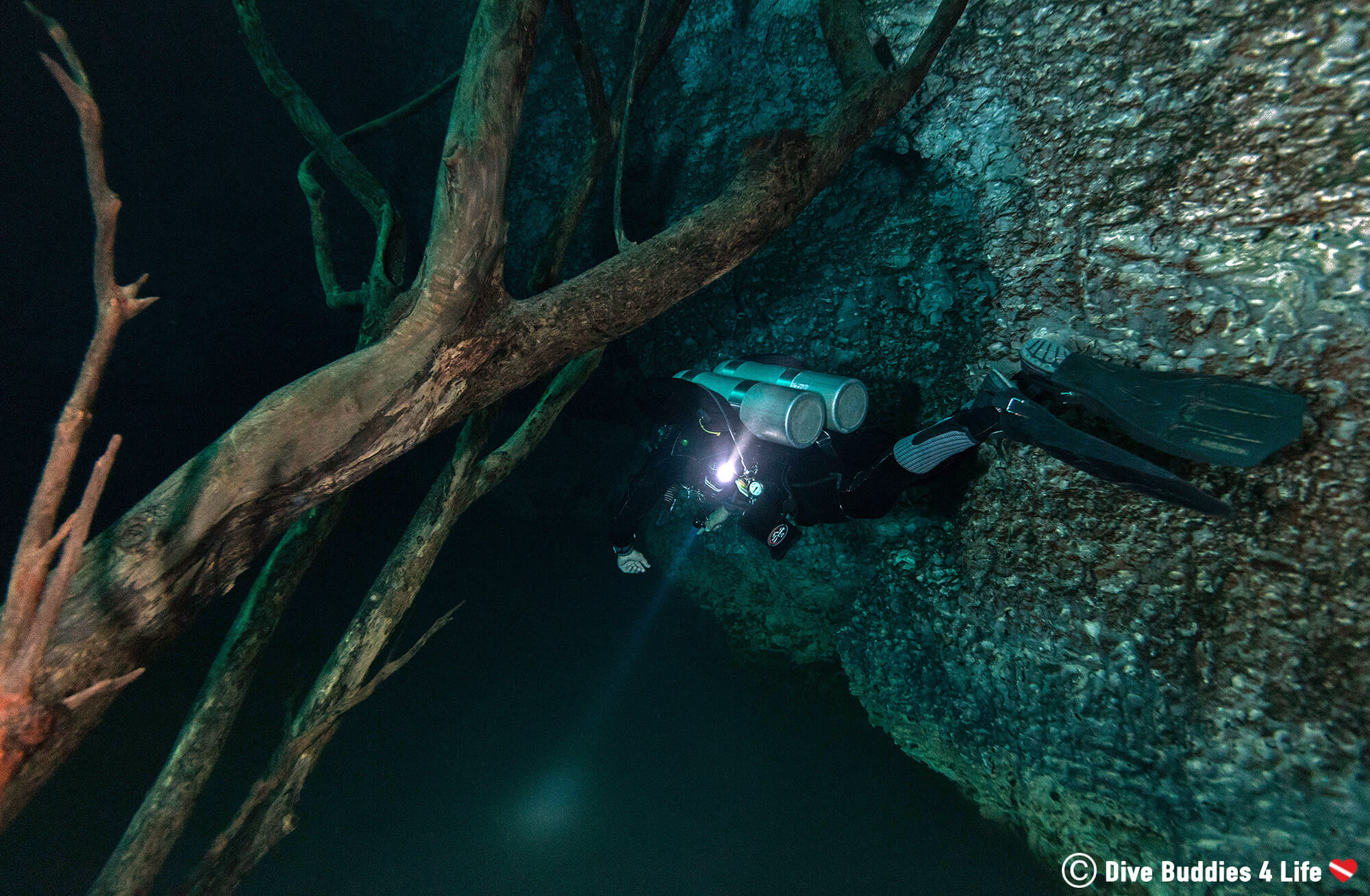 A Tech Diver Above The Halocline In Cenote Angelita, Tulum Cavern Diving, Mexico