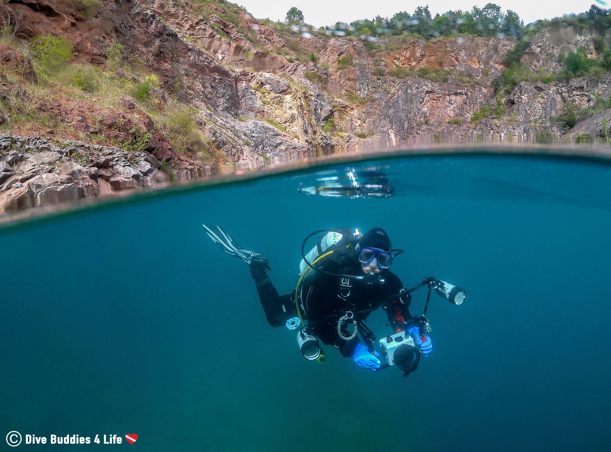 Ali Scuba Diving in the Chepstow Quarry with Her Camera, Whales, United Kingdom