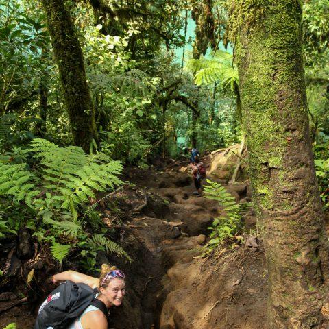 Ali Climbing Down to the Chato Volcano Lake in Costa Rica