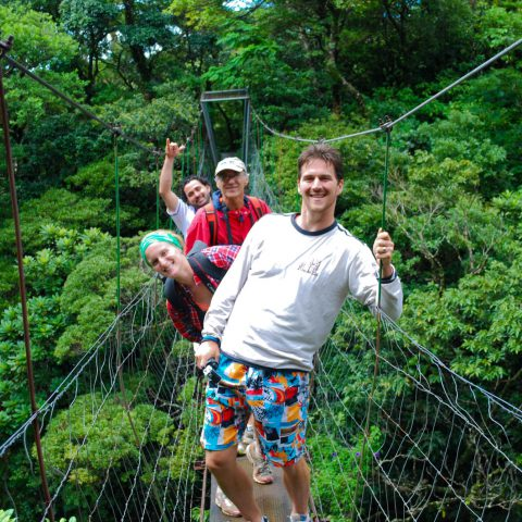 Ali, Dad, Joey and the Guide on the Suspension Bridge in the Rainforest