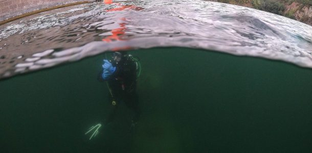 Ali Deploying A Safety Buoy In Stoney Cove Quarry, Inland Diving In England, Europe