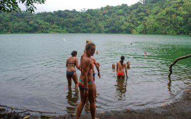 Ali Entering the Chato Volcano Lagoon Lake in Costa Rica
