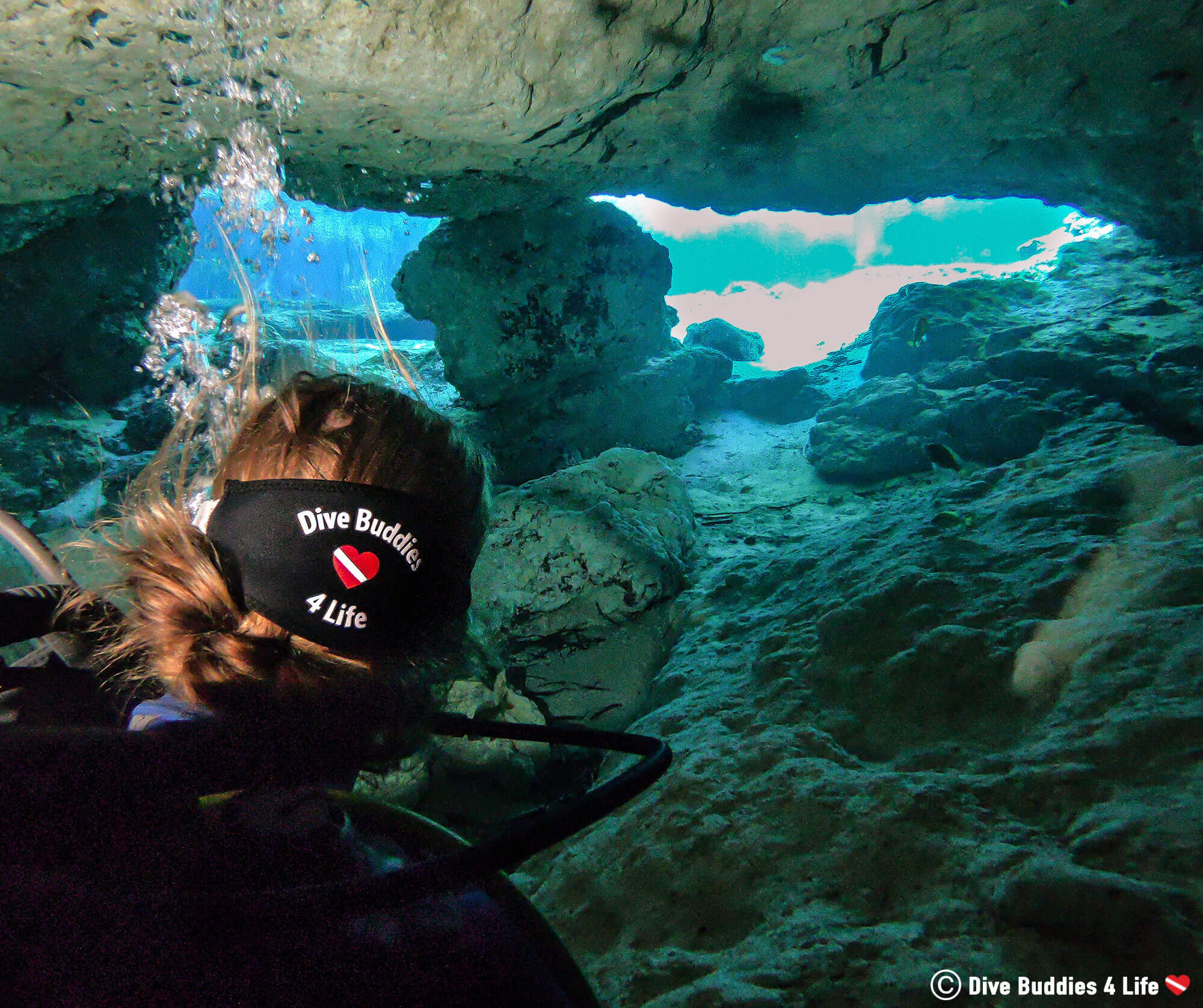 Ali Exiting The Ginnie Spring Dive Cave In Florida, USA