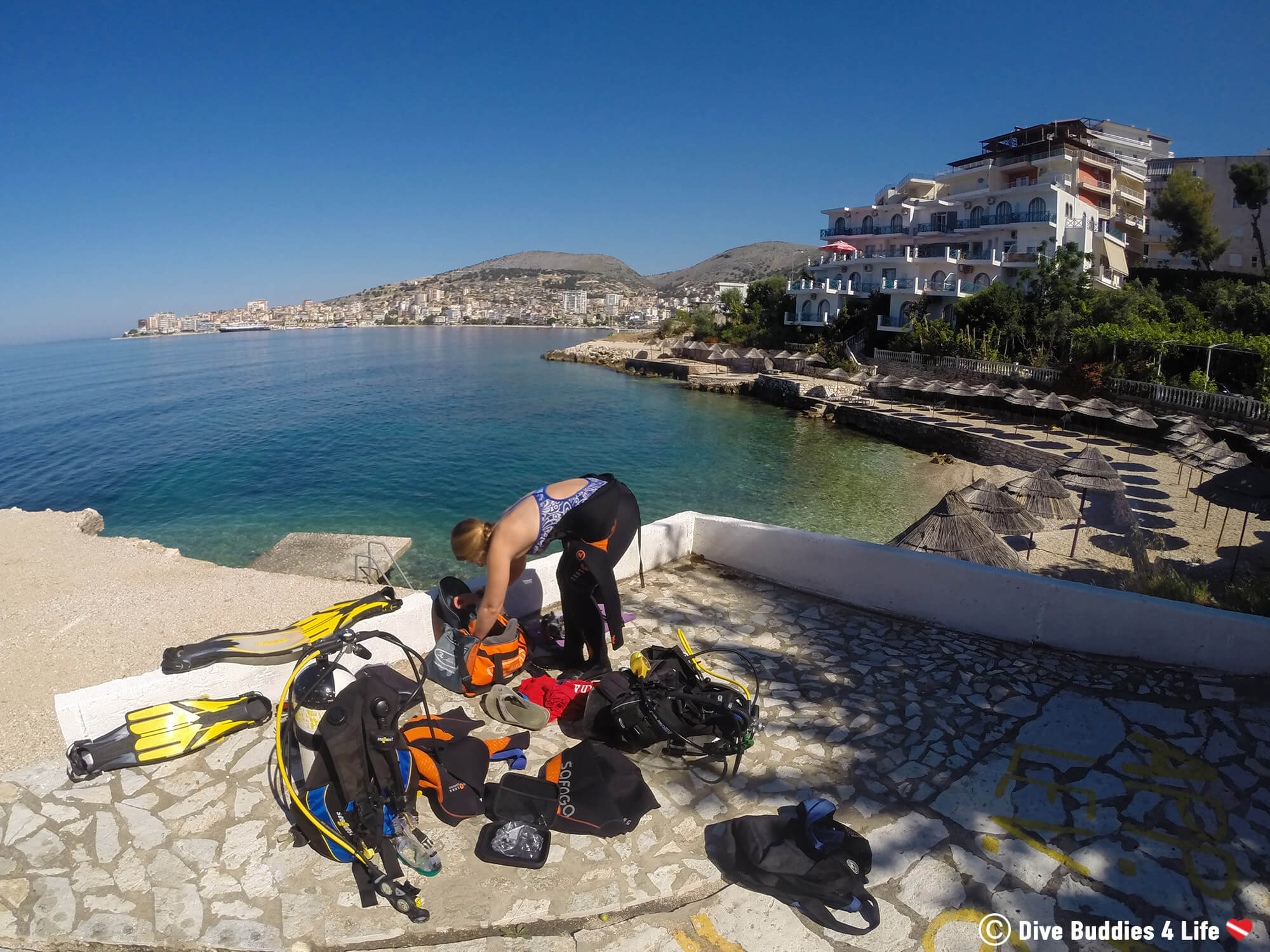 Ali Getting Ready To Go Scuba Diving In The Bay Of Sarandë And Find Some Shipwrecks, Albania, Europe