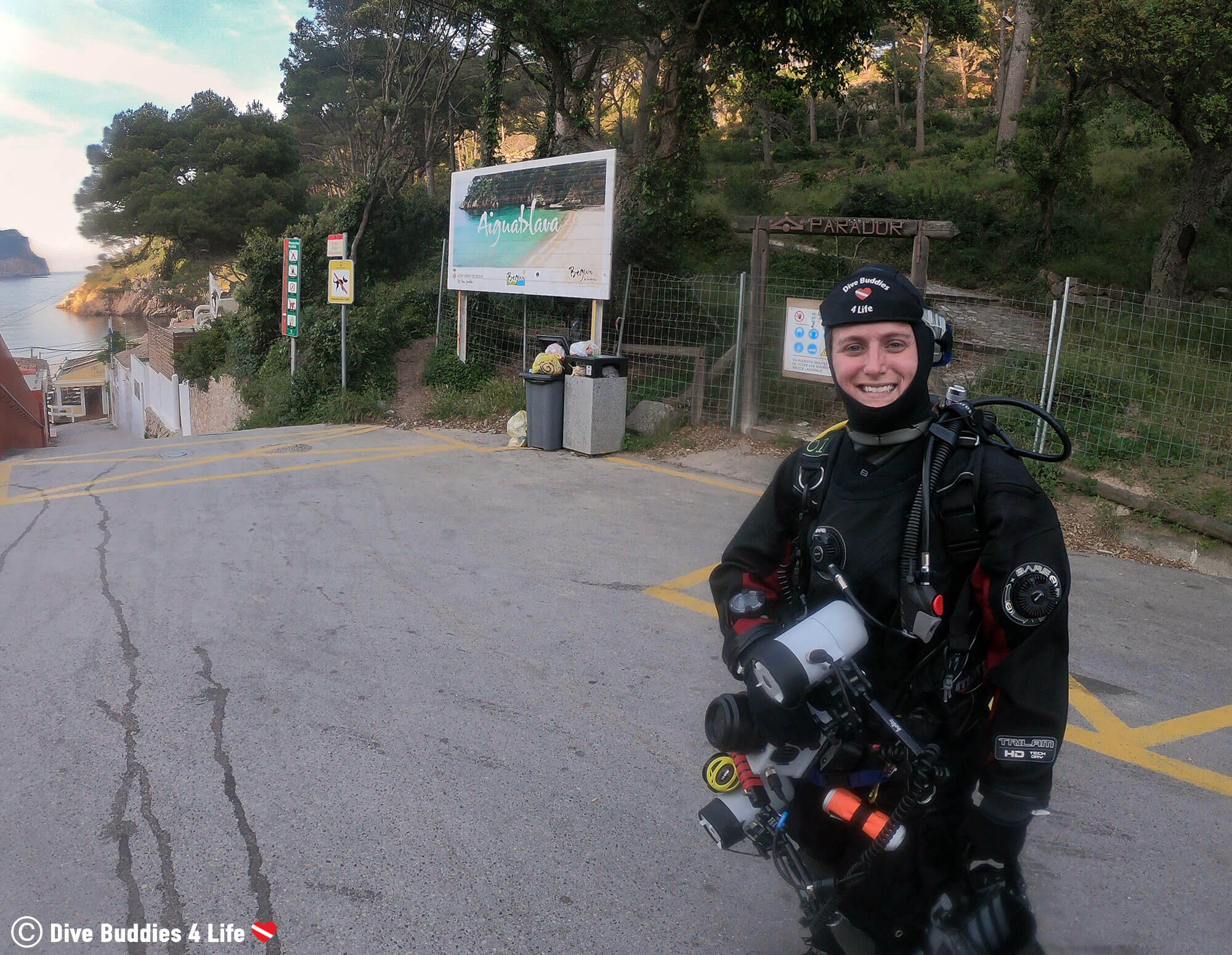 Ali Getting Ready To Shore Dive From Aiguablava Beach In Spain, Europe
