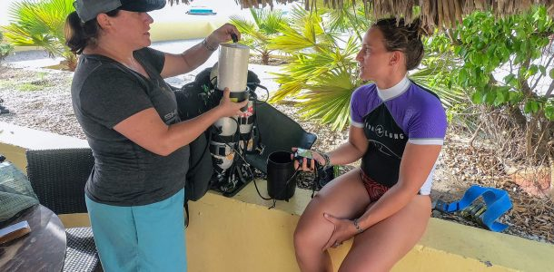 Ali Looking At A Re-Breather During Bonaire TeK Week, Buddy Dive Resort, Dutch Caribbean