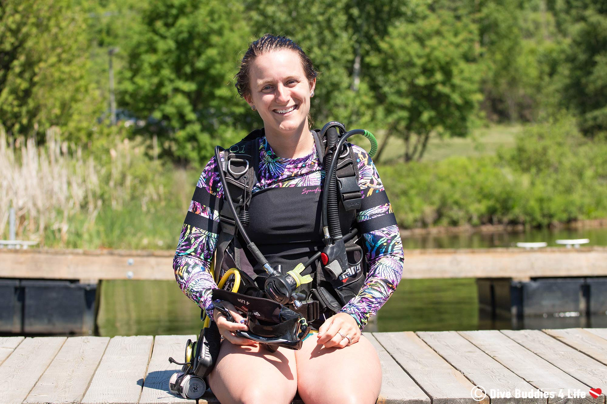 Ali Sitting On The Dock In Scuba Diving Gear With The Spacefish Army Rashguard Ready To Hit The Water, Dive Clothes