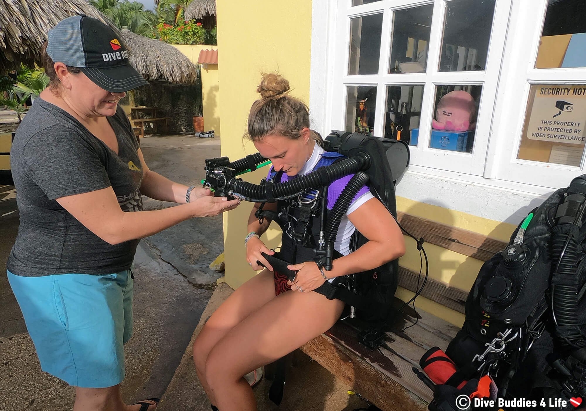 Ali Trying Out A Scuba Diving Re Breather On Bonaire, During Tech Diving Week, Dutch Caribbean