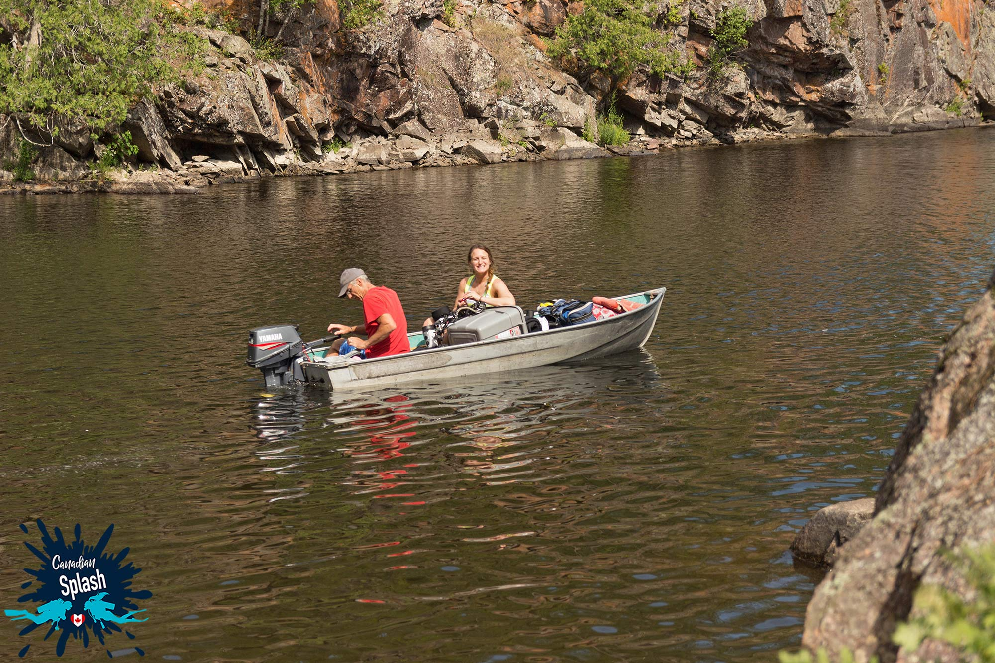 Ali And Andy In A Boat Heading Across The Lake To The Dive Site On Talon Chutes, Mattawa, Ontario Scuba Diving