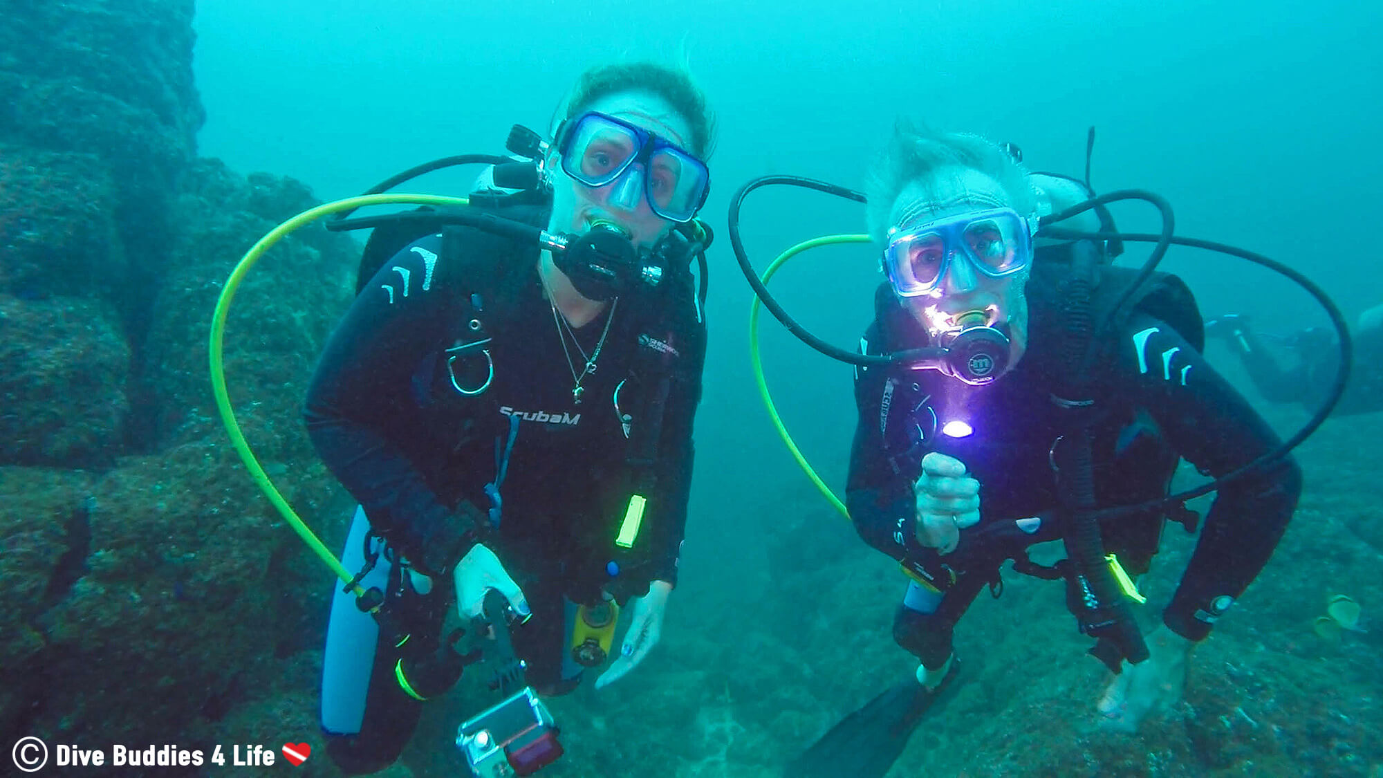 Ali And Dad Scuba Diving The Catalina Islands In Costa Rica, Central America
