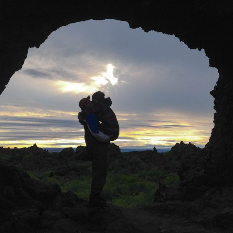 Ali and Joey Kissing in the Sunset at Dimmuborgir