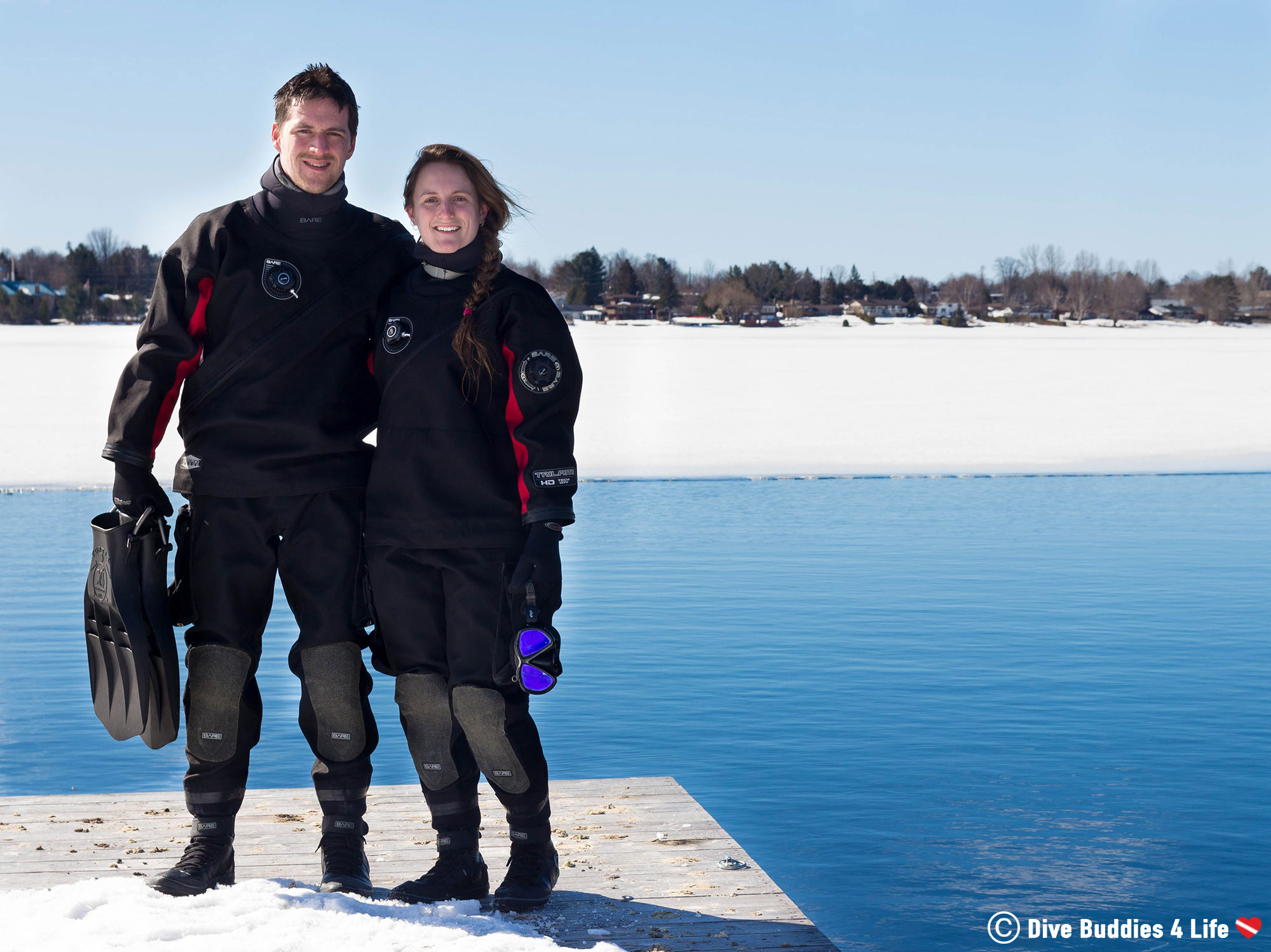 Ali And Joey In Drysuits Scuba Diving North Bay, Ontario
