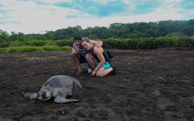 Ali and Joey with a Turtle