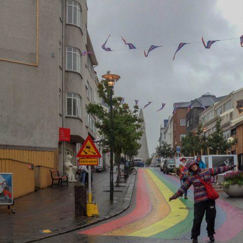 Ali and Rainbow Street in Reykjavik