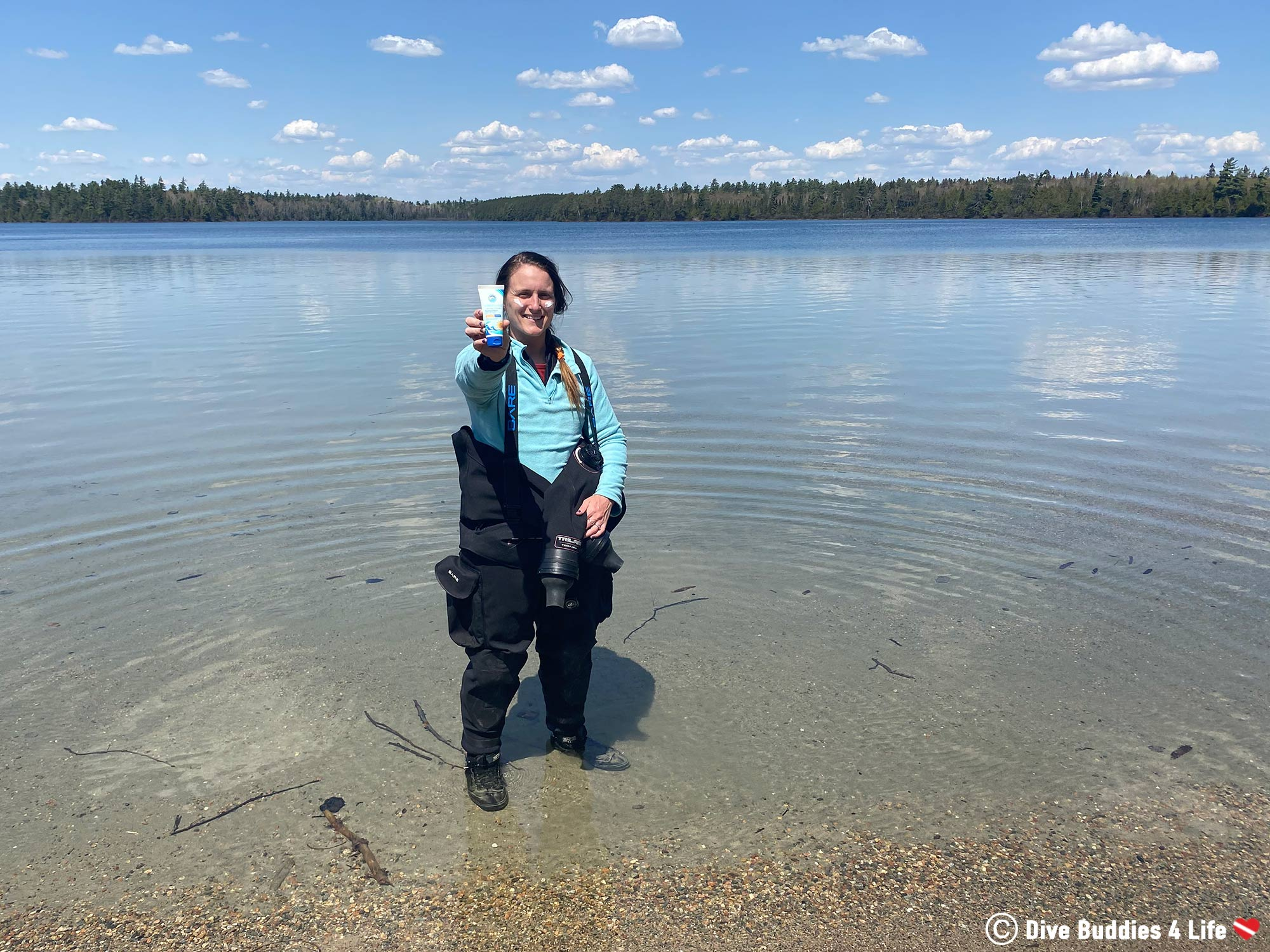 Ali In Her Scuba Diving Gear With The Stream2Sea Reef Safe Sunscreen, Northern Ontario