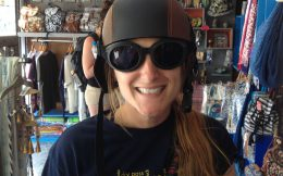 Ali In Her Racing Helmet And Goggles On Santorini, Greece