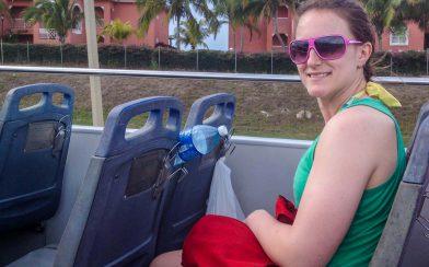 Ali on the Double Decker Cuban Resort Bus