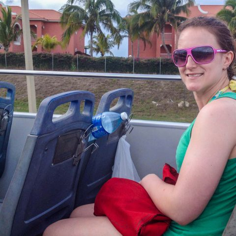 Ali on the Double Decker Cuban Resort Bus