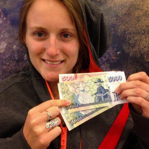 Ali with Icelandic Money