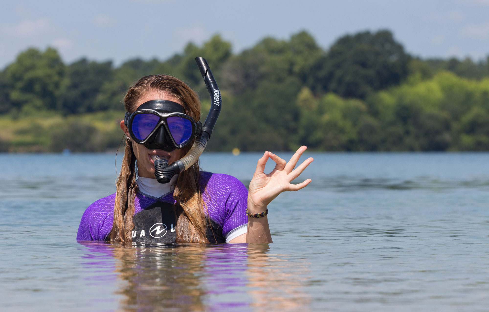Scuba Diver Ali With Snorkel And Mask in the Water