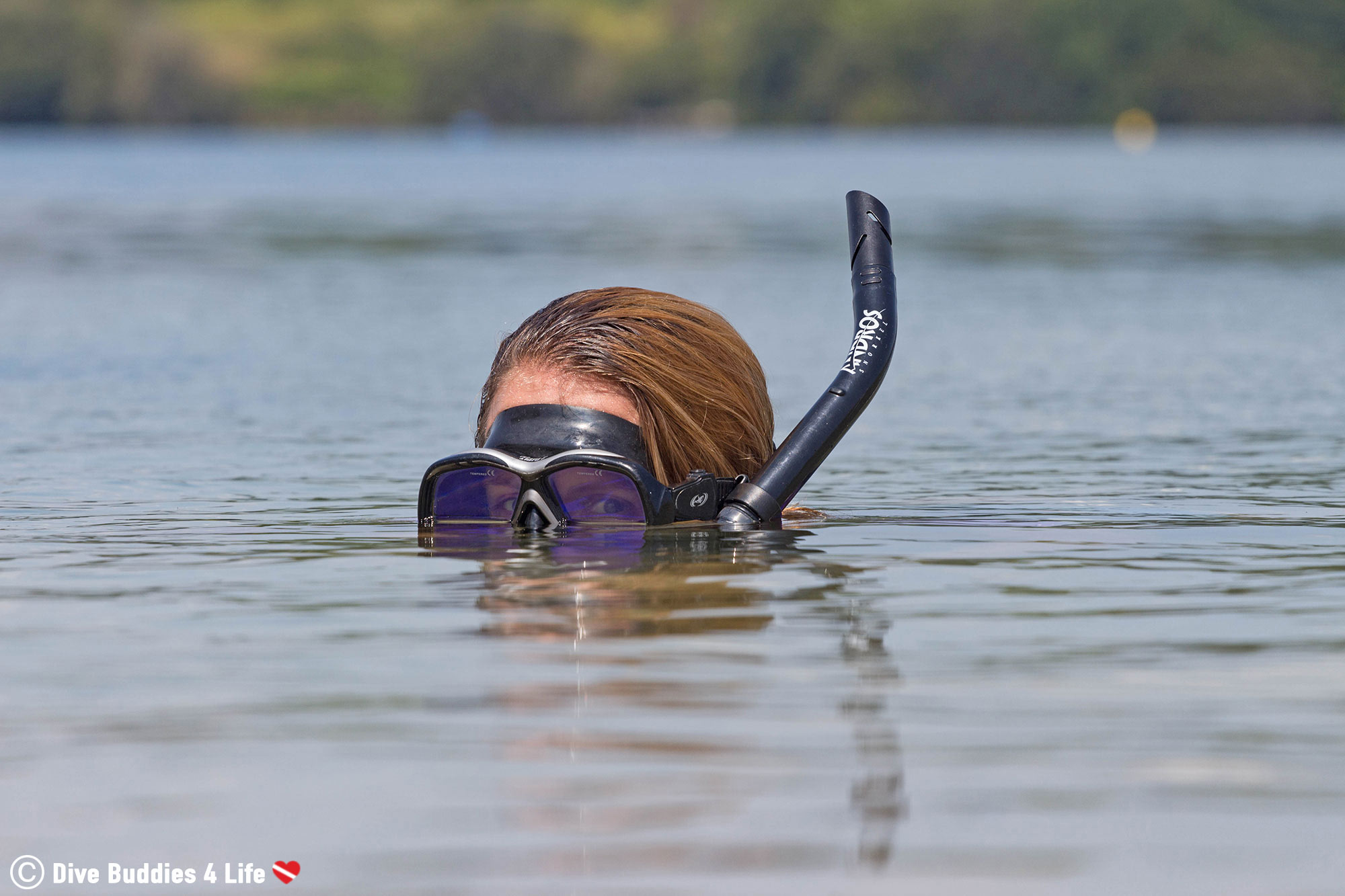 Ali With Snorkel Looking At Camera In A Lake