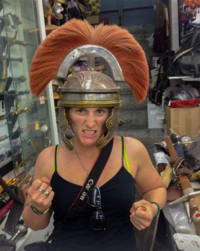 Ali with Trojan Helmet
