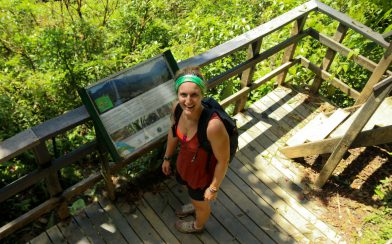 Ali with an Information Sign in Tenorio National Park