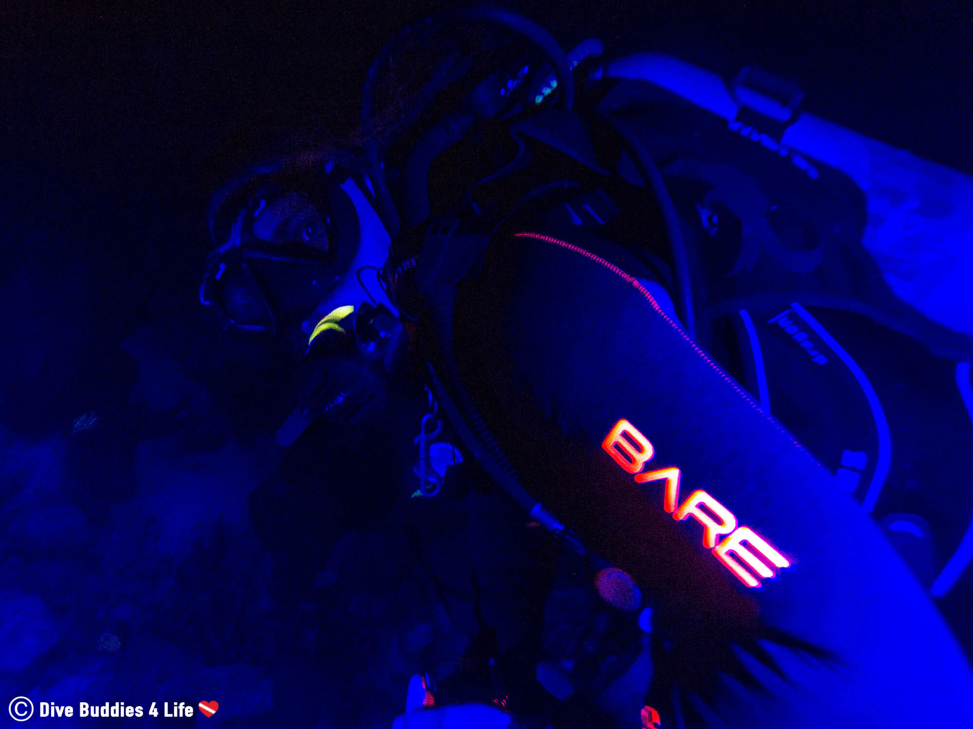 Ali's Scuba Diving Wetsuit Under The Power Of Fluorescent Lighting In Bonaire, Caribbean