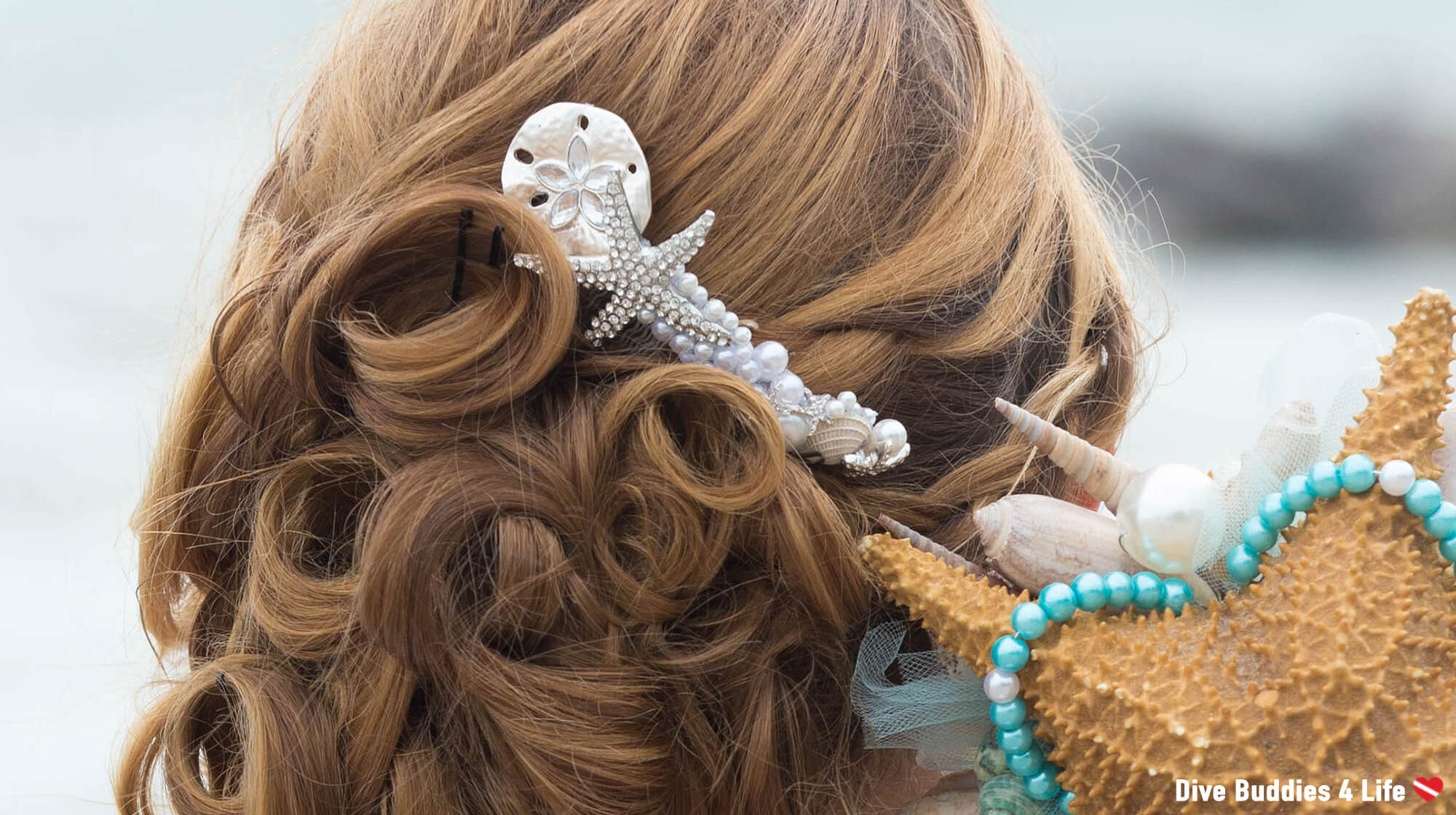 Ali's Sea Star And Sea Shell Wedding Bridal Hair Piece For A Scuba Themed Wedding