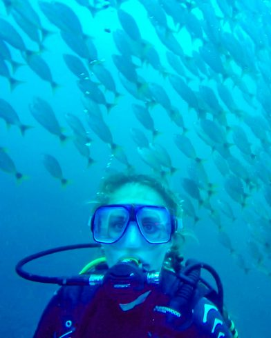 Ali's Scuba Diving Face and the Wall of Fish in Costa Rica