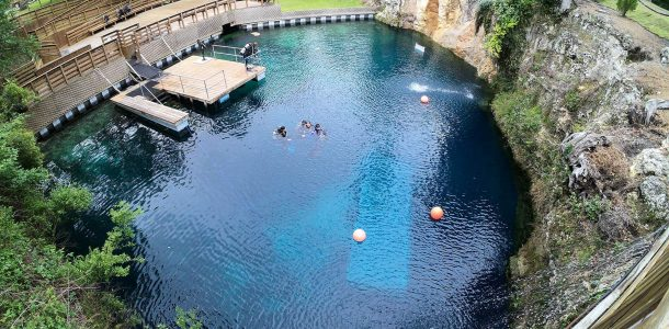 An Overview Of The Blue Grotto Water With Scuba Divers Getting Ready To Go Scuba Diving In This Florida Sinkhole, USA
