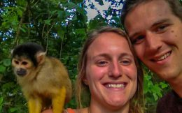 Joey and Ali with a Monkey