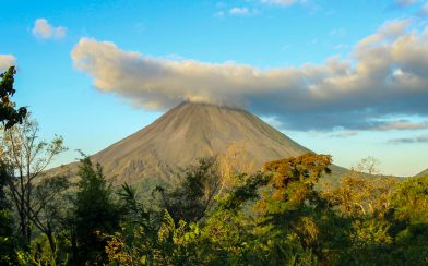 Observing the Arenal Volcano Tip and its Cloud Covering