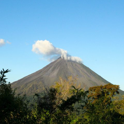 The Arenal Volcano with Clouds in La Fortuna, Costa Rica