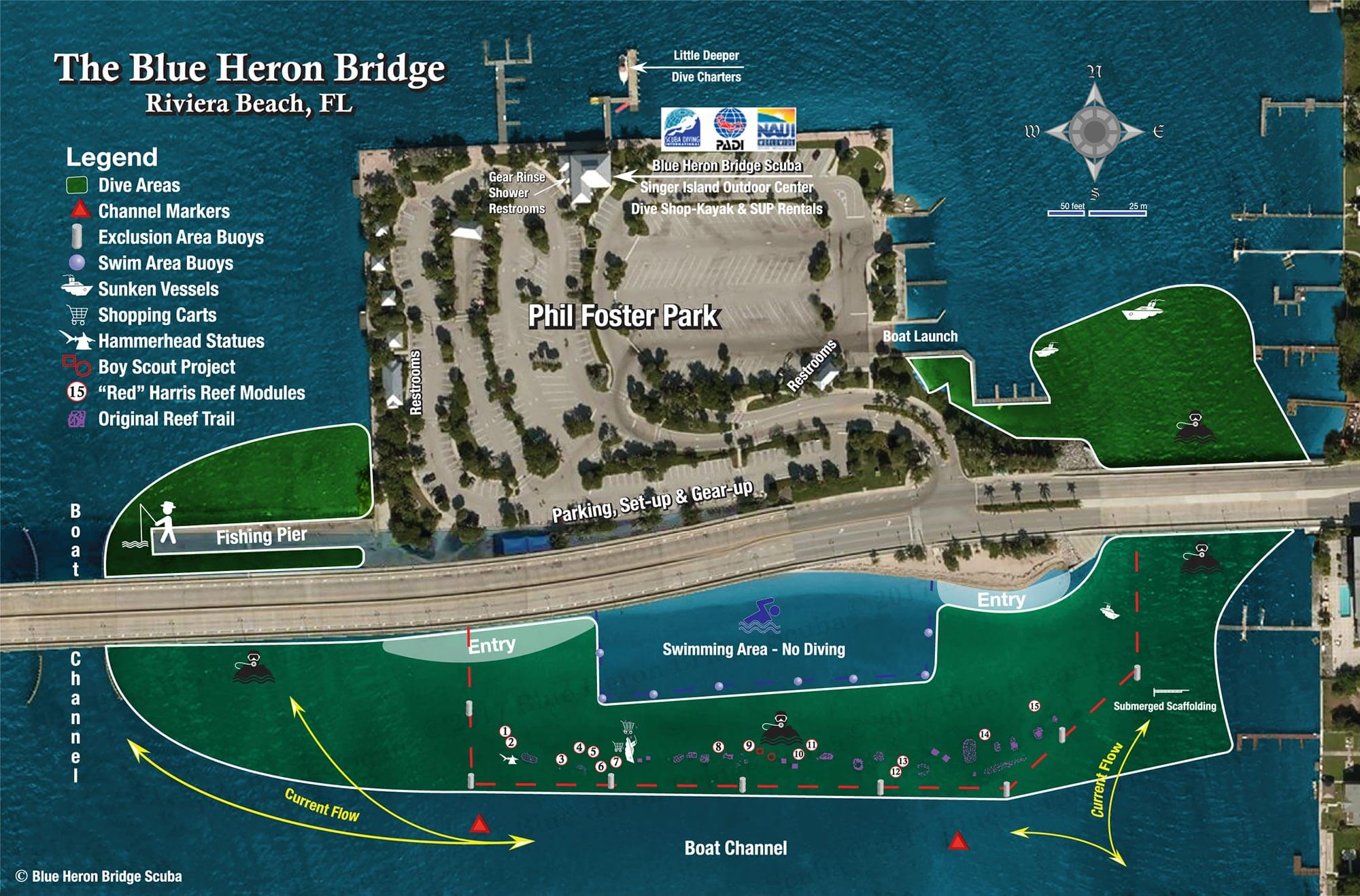 Blue Heron Bridge Scuba Map Courtesy of Blue Heron Bridge Dive Shop
