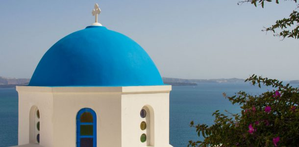 Blue Dome Of A Church On Santorini