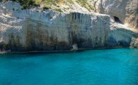 Blue Water And Cliffs Of Zakythos Island In Greece