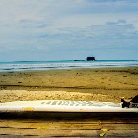 Surf Board and the Beach in Nicaragua, Central America