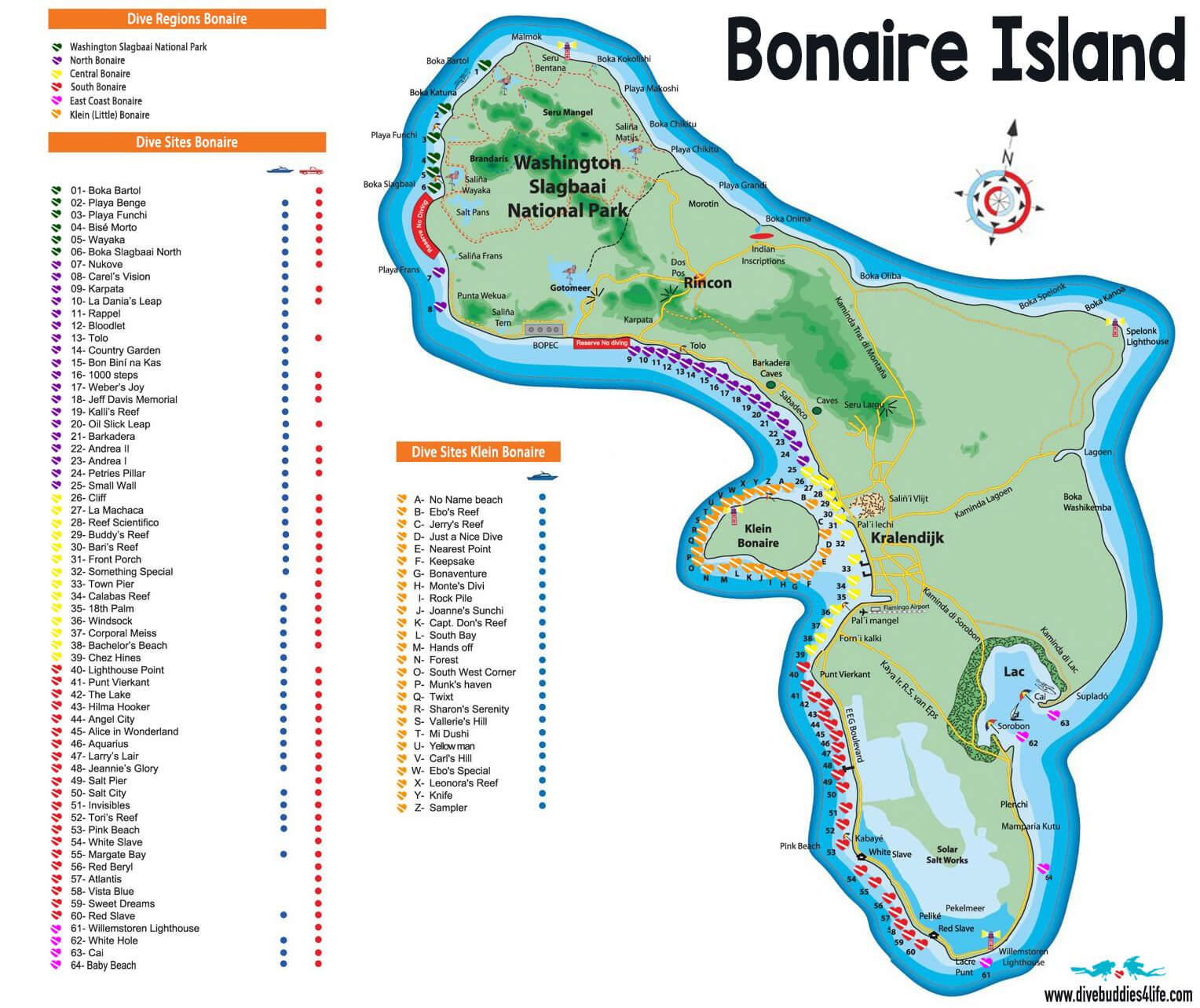 Bonaire Island Scuba Diving Map