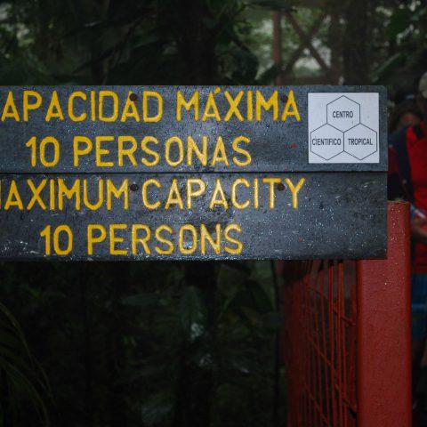The Monteverde Bridge Maximum Capacity Sign