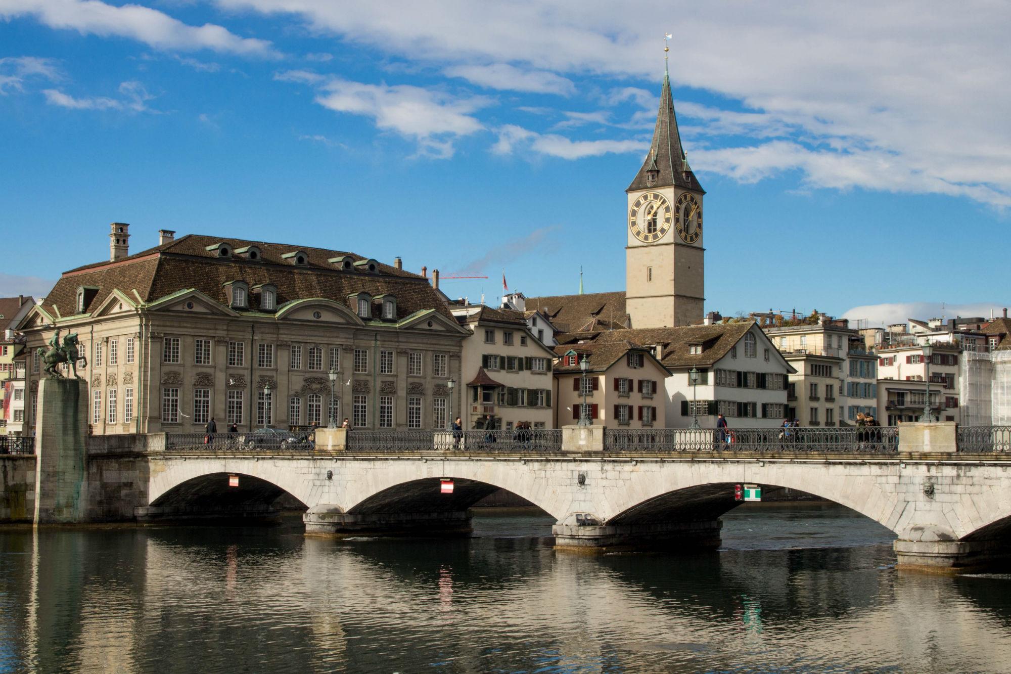 Bridge With Church Tower In Zürich