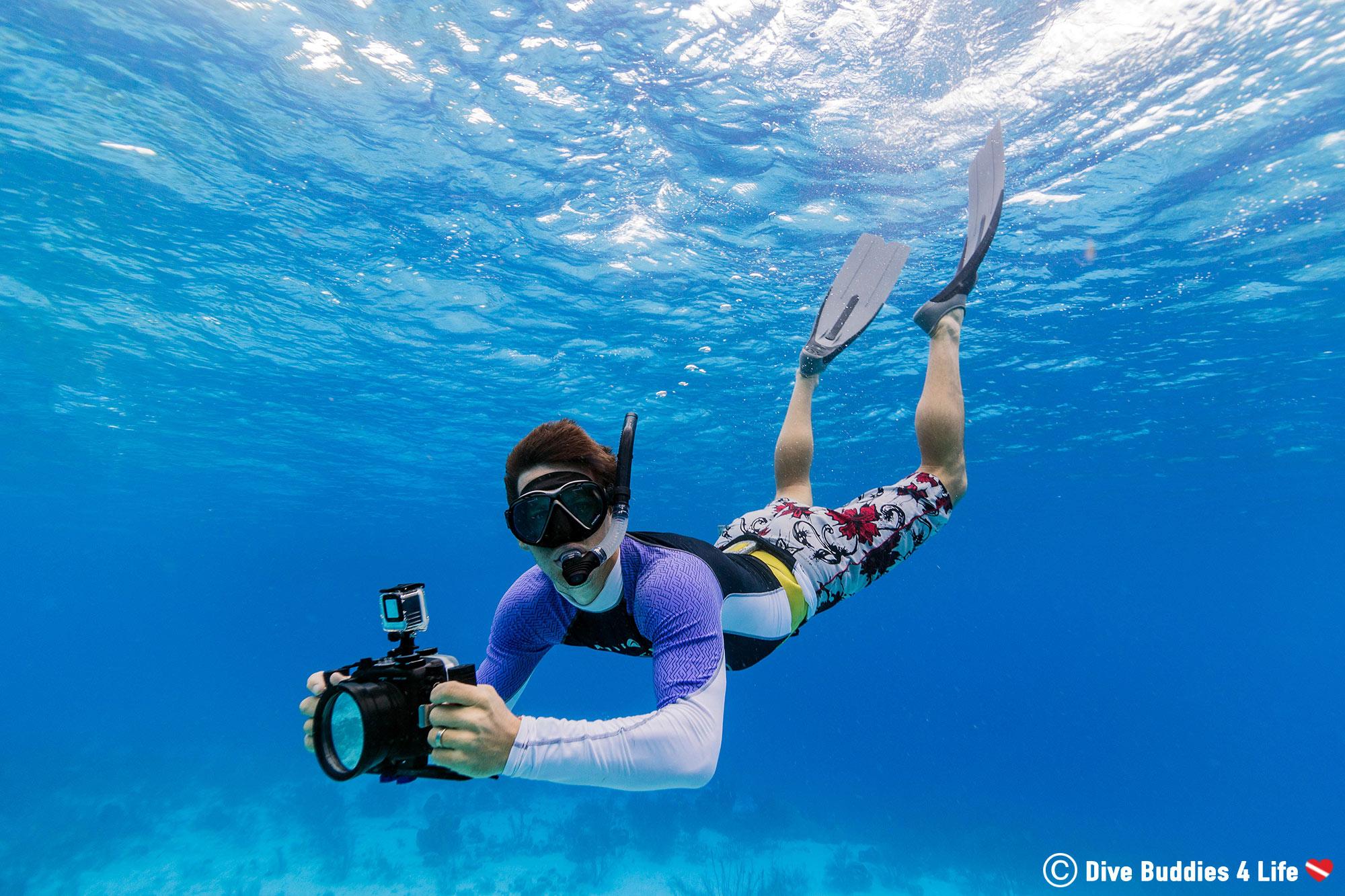 Camera Man Joey In His Snorkeling Gear At Klein Bonaire, Dutch Caribbean