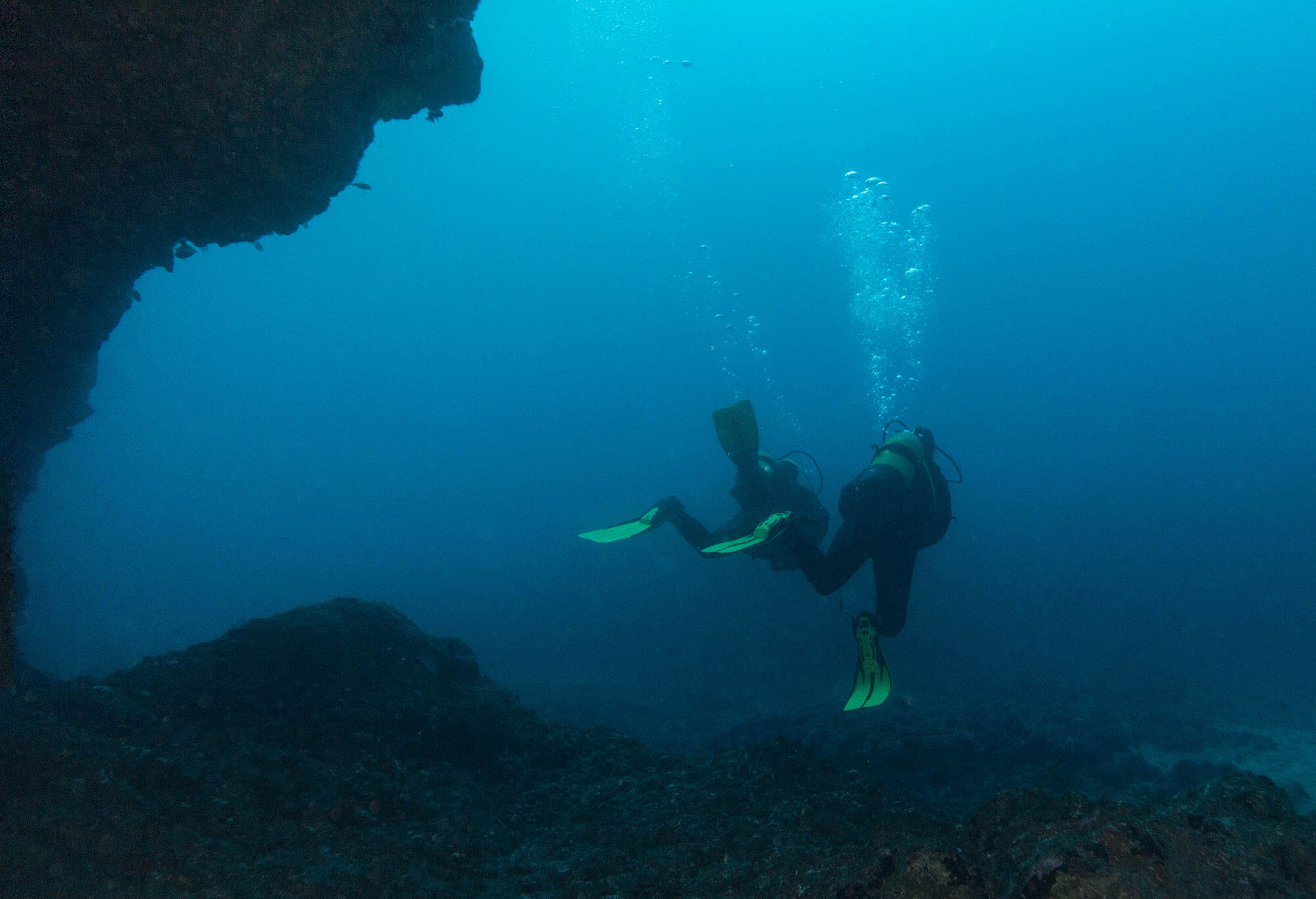 Two Divers at the Arcos de Calora dive site in the Azores