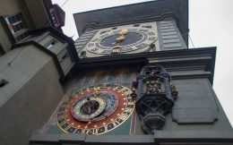 Clock Tower In The Capital Of Switzerland, Bern