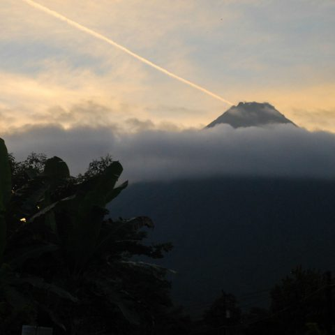A Close up of the Arenal Volcano After Sunset